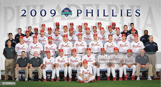 The Philadelphia Phillies pose for their 2009 team photo at Citizens Bank Park in Philadelphia Pennsylvania on July 8 2009 BACK ROW Joe Swanhart Brad...