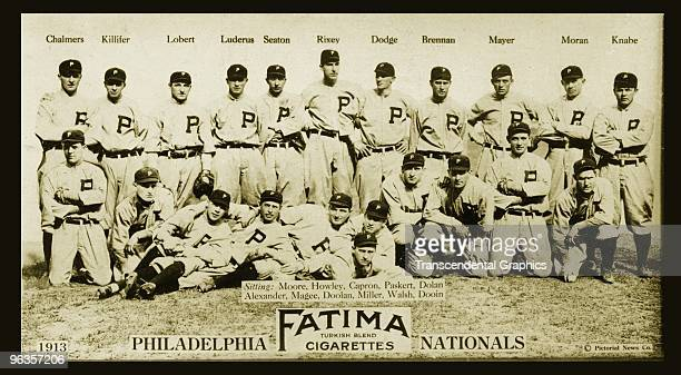 The Philadelphia Phillies pose for their team portrait for the 1913 season issued as a tobacco card for Fatima Cigarettes The team features Hall of...