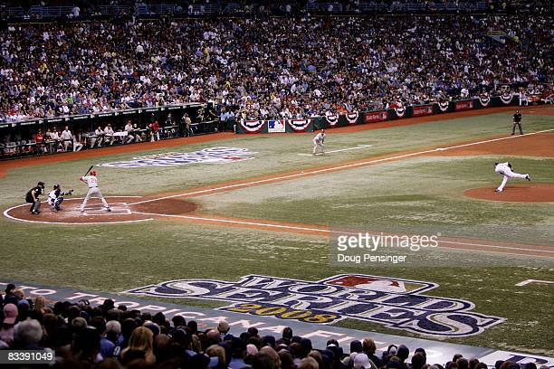 The Philadelphia Phillies take on the Tampa Bay Rays during game one of the 2008 MLB World Series on October 22, 2008 at Tropicana Field in St....