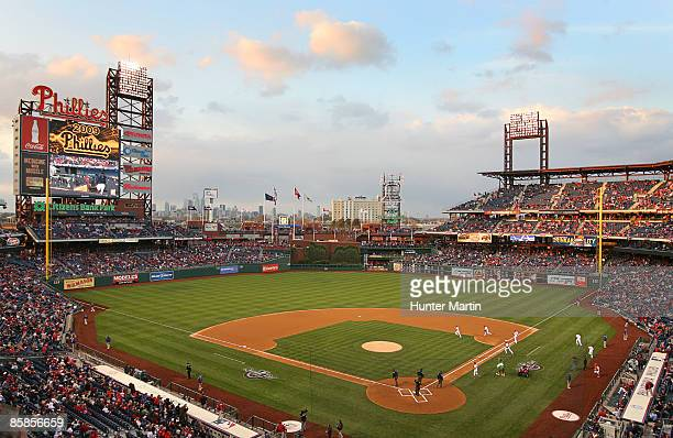 The Philadelphia Phillies take the field in the first inning during a game against the Atlanta Braves at Citizens Bank Park on April 7 2009 in...