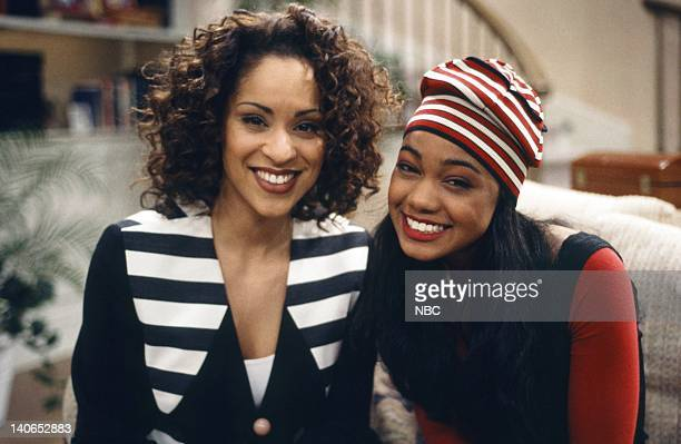 AIR The Philadelphia Story Episode 26 Pictured Karyn Parsons as Hilary Banks Tatyana Ali as Ashley Banks Photo by Joseph Del Valle/NBCU Photo Bank