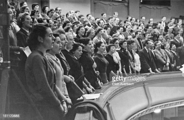 The Philharmonia Chorus in full song, London, November 1957.