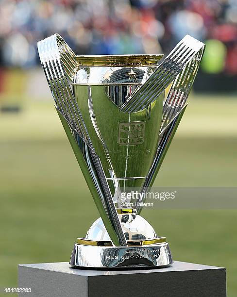 The Philip F Anschutz trophy is seen on the field before the start of the match between Real Salt Lake and Sporting Kansas City in the 2013 MLS Cup...