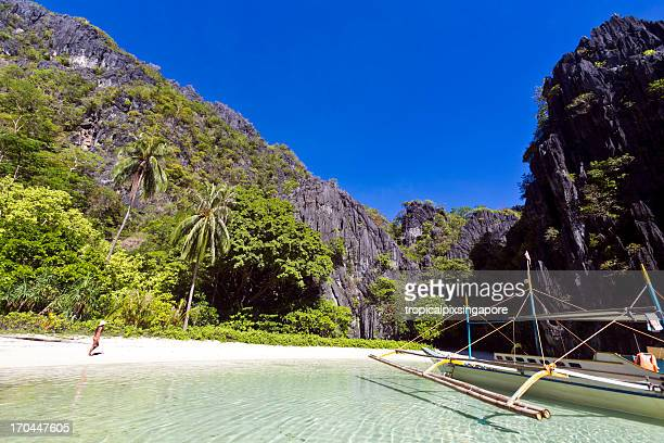 L'Isola di Palawan, Filippine, Provincia di El Nido, spiaggia tropicale.