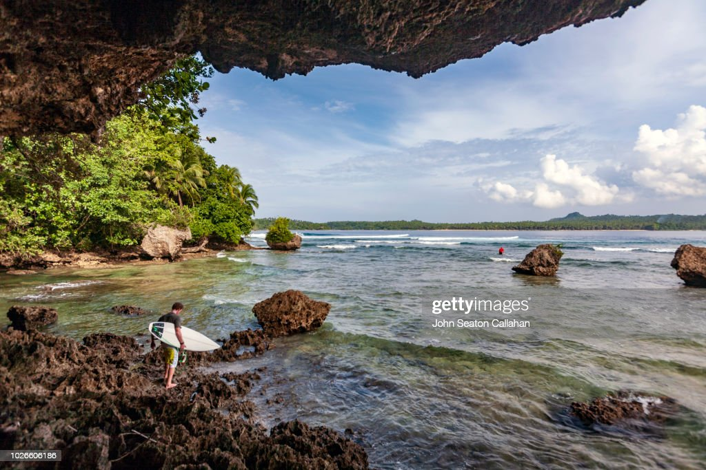 The Philippines, surfers in Eastern Samar : Stock Photo