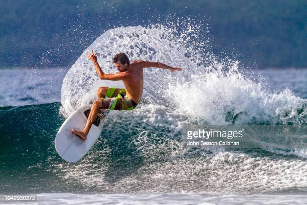 the philippines, surfing in mindanao - wassersport stock-fotos und bilder