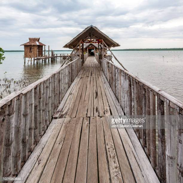 the philippines, wooden walkway in eastern samar - tacloban stock pictures, royalty-free photos & images
