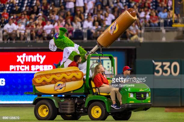 The Phillie Phanatic blasts Hatfield hot dogs into the crowd during the Major League Baseball game between the Boston Red Sox and the Philadelphia...