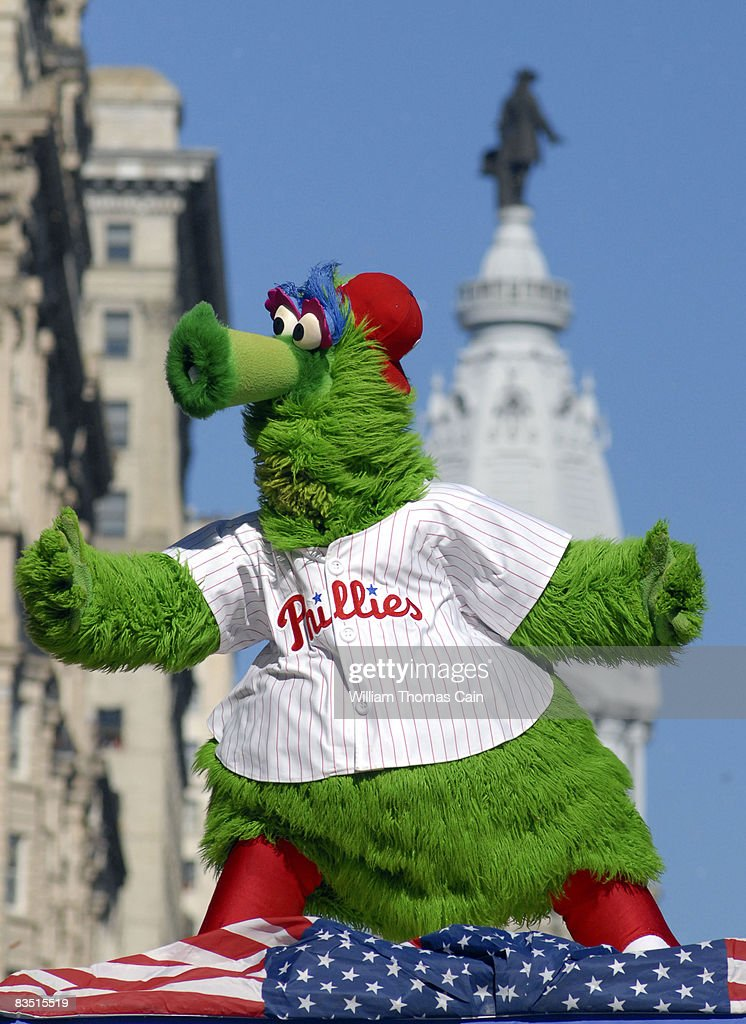 The Phillie Phanatic dances on a float in front of City Hall during the World Championship Parade October 31, 2008 in Philadelphia, Pennsylvania. The Phillies defeated the Tampa Bay Rays to win their first World Series in 28 years.