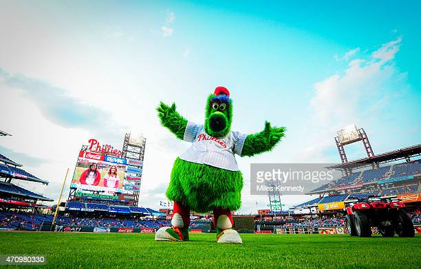 The Phillie Phanatic entertains before the start of a game between the Philadelphia Phillies and the Miami Marlins on April 21 2015 at Citizens Bank...
