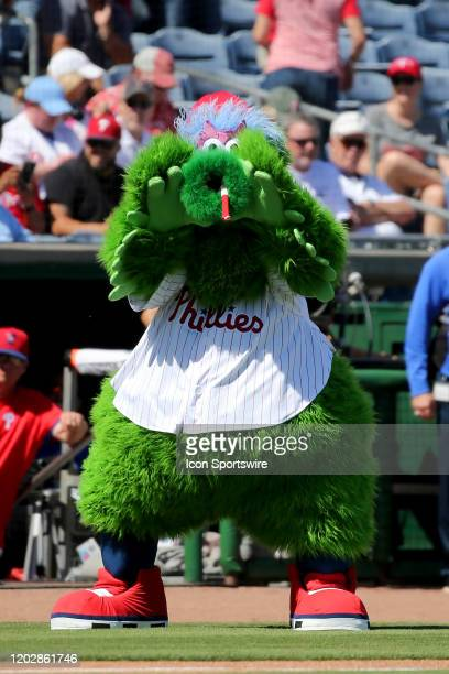 The Phillie Phanatic gestures towards the Pirates dugout before the spring training game between the Pittsburgh Pirates and the Philadelphia Phillies...