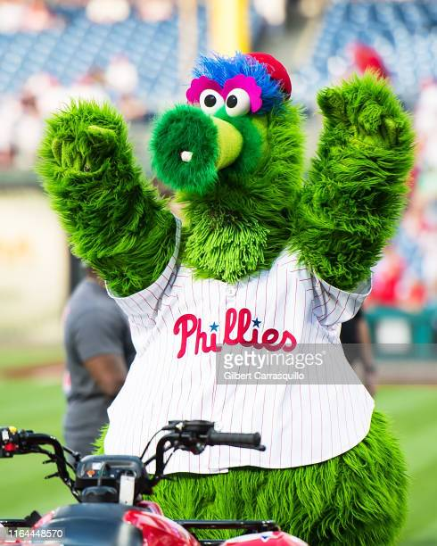 The Phillie Phanatic is seen during the ceremonial first pitch at the Pittsburgh Pirates vs Philadelphia Phillies game at Citizens Bank Park on...