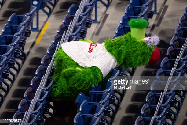 The Phillie Phanatic looks on from the empty seats during Game Two of the doubleheader against the New York Yankees at Citizens Bank Park on July 27,...