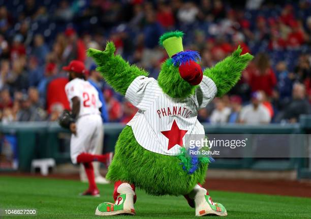 The Phillie Phanatic on the field as the Phillies take the field for a game against the Atlanta Braves at Citizens Bank Park on September 28 2018 in...