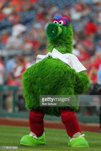 The Phillie Phanatic performs during a game against the Miami Marlins at Citizens Bank Park on September 28, 2019 in Philadelphia, Pennsylvania.