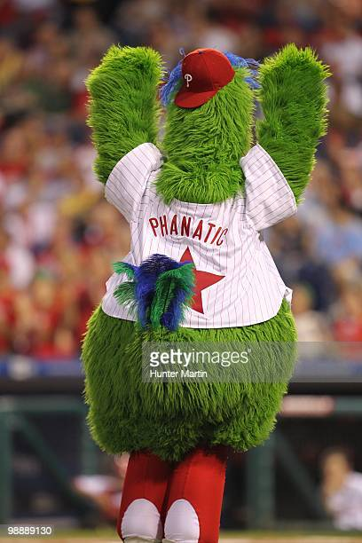 The Phillie Phanatic performs during the game between the New York Mets and the Philadelphia Phillies at Citizens Bank Park on May 2 2010 in...
