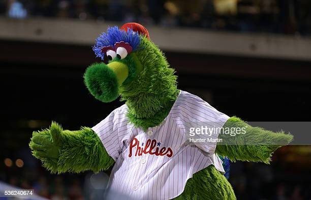 The Phillie Phanatic performs in the seventh inning during a game between the Washington Nationals and the Philadelphia Phillies at Citizens Bank...