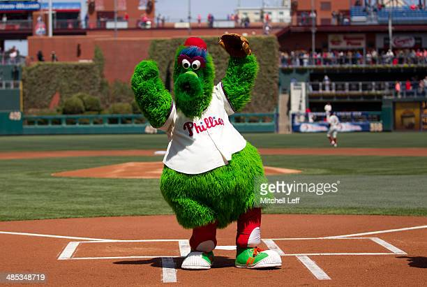 The Phillie Phanatic poses for a picture prior to the game against the Atlanta Braves on April 17 2014 at Citizens Bank Park in Philadelphia...