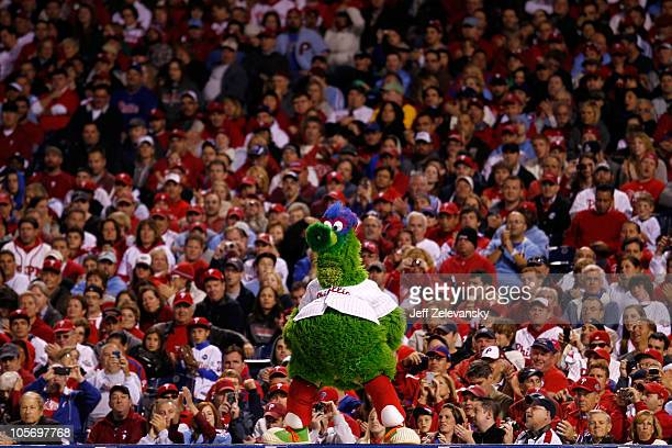 The Phillie Phanatic pumps up the crowd as the Phillies take on the San Francisco Giants in Game Two of the NLCS during the 2010 MLB Playoffs at...