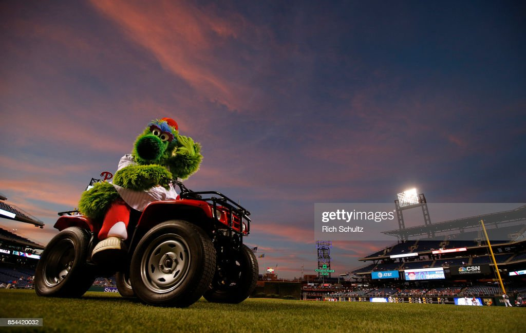 The Phillie Phanatic rides off the field before a game between the Washington Nationals and Philadelphia Phillies at Citizens Bank Park on September 26, 2017 in Philadelphia, Pennsylvania.