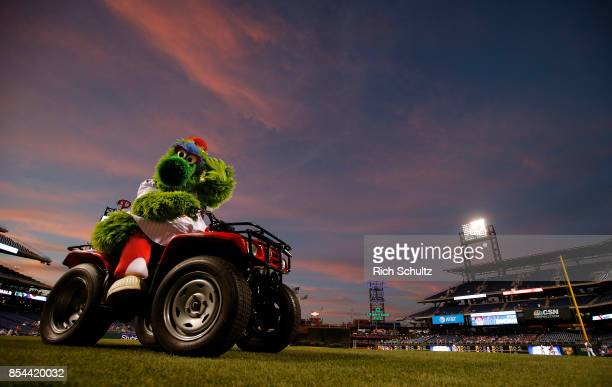 The Phillie Phanatic rides off the field before a game between the Washington Nationals and Philadelphia Phillies at Citizens Bank Park on September...