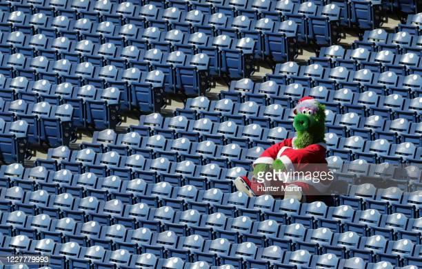 The Phillie Phanatic sits alone in the stands during a game between the Miami Marlins and the Philadelphia Phillies at Citizens Bank Park on July 25,...