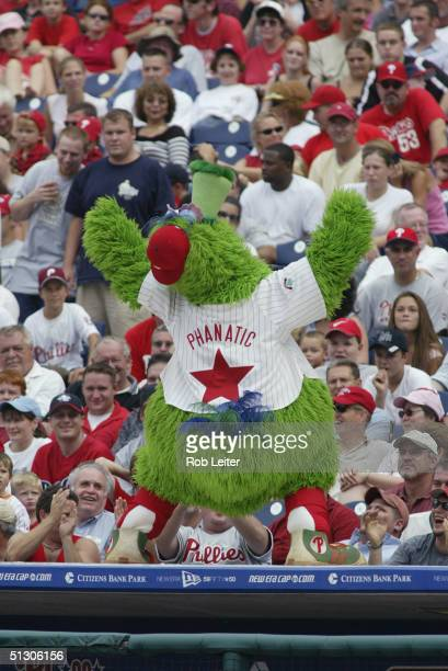 The Phillie Phanatic the Philadelphia Phillies mascot performs during the game against the San Francisco Giants at Citizen Bank Park on August 15...