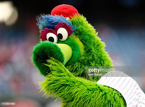 The Philly Phanatic entertains before the start of a game between the Philadelphia Phillies and the Pittsburgh Pirates at Citizens Bank Park on May...