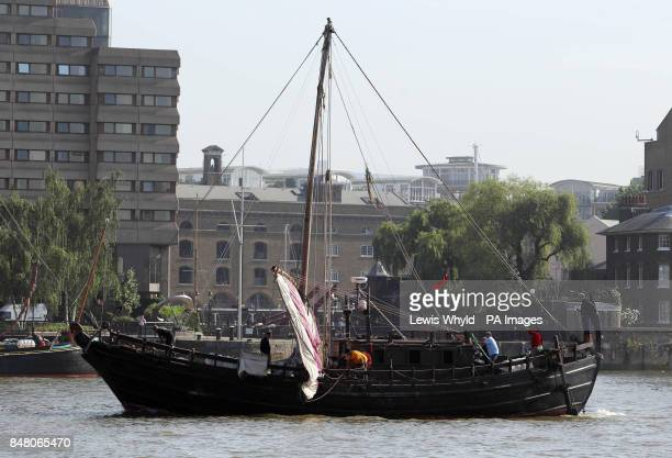 The Phoenicia a replica 600BC Phoenician ship after it went through Tower Bridge as it arrives in London after circumnavigating Africa