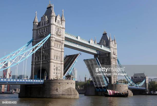 The Phoenicia a replica 600BC Phoenician ship goes through Tower Bridge as it arrives in London after circumnavigating Africa