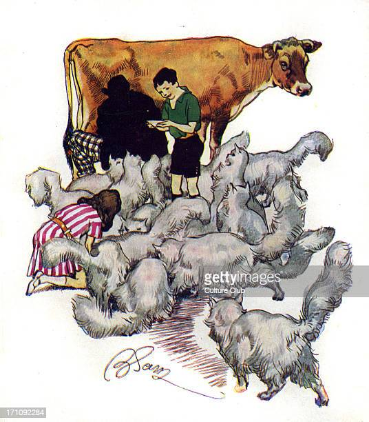 The Phoenix and the Carpet by Edith Nesbit 'He went on milking in a sort of happy dream' Illustration by Harold Robert Millar 1903 EN English author...