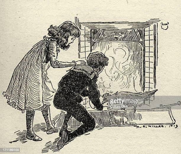 The Phoenix and the Carpet by Edith Nesbit 'It looked at the page which Robert kneeling down spread out in the fender' Illustration by Harold Robert...