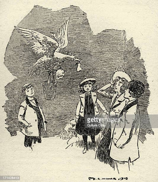 The Phoenix and the Carpet by Edith Nesbit 'It looked very big as it fluttered down between the walls' Illustration by Harold Robert Millar 1903 EN...