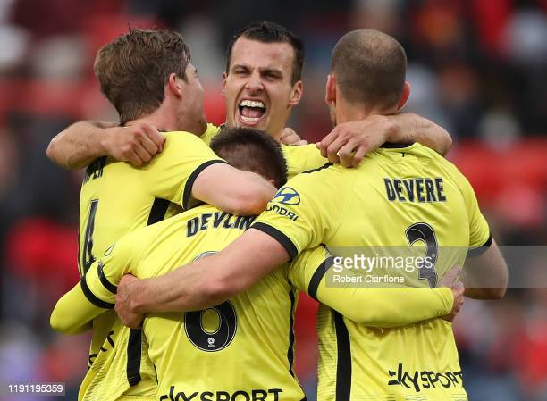 The Phoenix celebrate after they defeated Adelaide United, during the round eight A-League match between Adelaide United and the Wellington Phoenix...