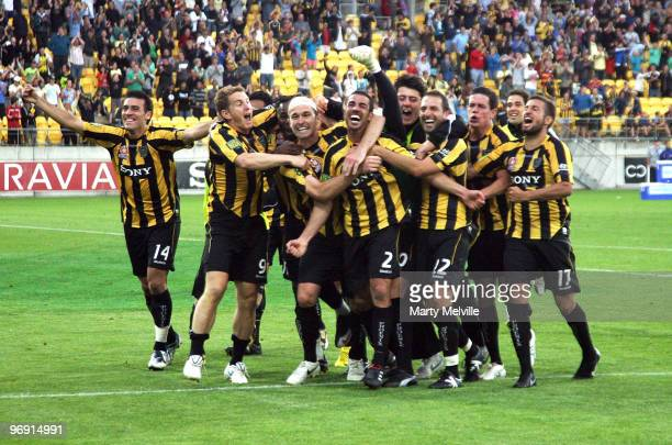 The Phoenix celebrate their win during the A-league Semi Final match between the Wellington Phoenix and Perth Glory at Westpac Stadium on February...