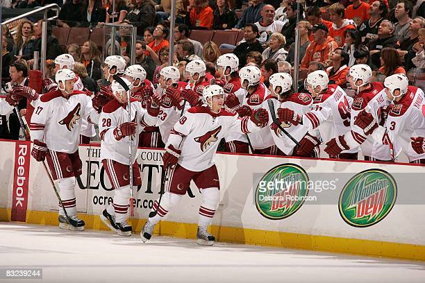 The Phoenix Coyotes celebrate a first period goal against the Anaheim Ducks during the game on October 12 2008 at Honda Center in Anaheim California