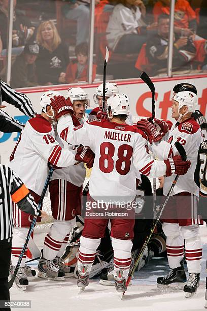 The Phoenix Coyotes celebrate a third period goal against the Anaheim Ducks during the game on October 12 2008 at Honda Center in Anaheim California