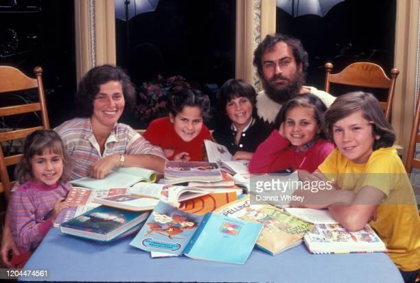 The Phoenix Family at home in Los Angeles, California, US, circa 1983; L-R Summer Phoenix, Arlyn Phoenix, Rain Phoenix, Joaquin Phoenix, John Lee...
