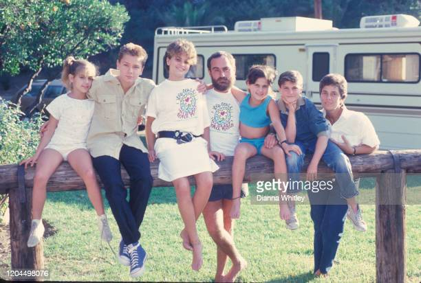 The Phoenix Family next to the RV they travel in when they do missionary work at their home in Los Angeles California US circa 1986 LR Summer Phoenix...