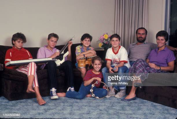 The Phoenix Family relaxing at their home in Los Angeles California US circa 1985 LR Liberty Phoenix River Phoenix Rain Phoenix Summer Phoenix...