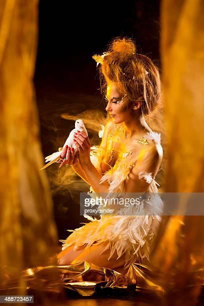the phoenix girl - phoenix bird stock pictures, royalty-free photos & images