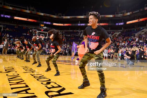 the Phoenix Mercury dance teams perform during the game between the Las Vegas Aces and Phoenix Mercury on July 19 2018 at Talking Stick Resort Arena...