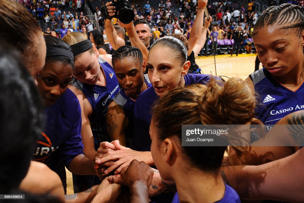 The Phoenix Mercury huddle up during the game against the Los Angeles Sparks on June 18, 2017 at STAPLES Center in Los Angeles, California.