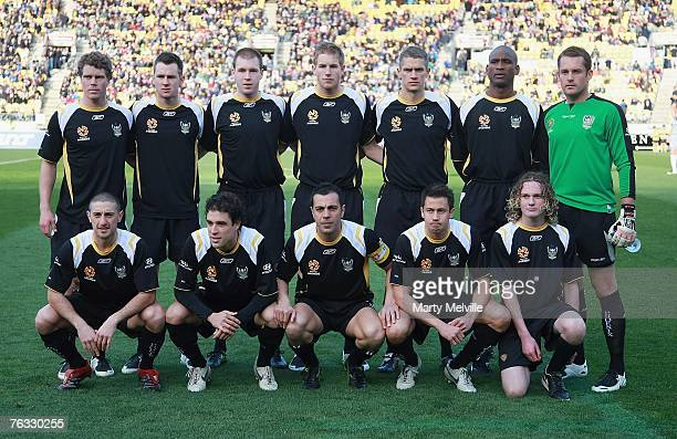 The Phoenix player pose for a team photo before the round one Hyundai A-League match between Wellington Phoenix and Melbourne Victory at Westpac...