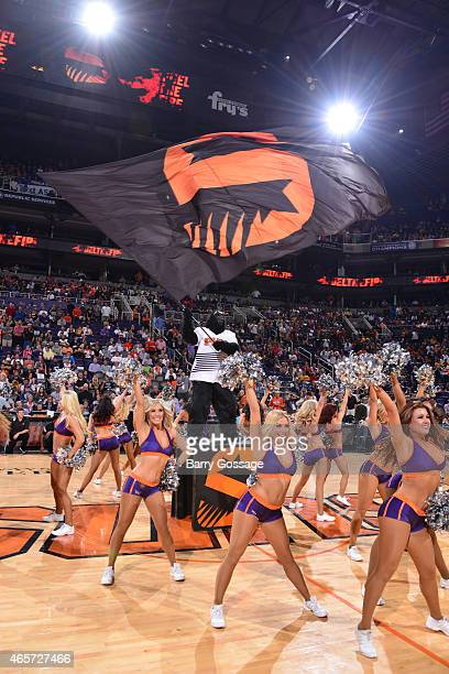 The Phoenix Suns Gorilla and the Suns Dancers get the crowd on their feet at the Suns host the Golden State Warriors on March 9 2015 at US Airways...
