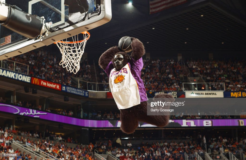 The Phoenix Suns Gorilla performs against the Memphis Grizzlies in Game one of the Western Conference Quarterfinals during the 2005 NBA Playoffs at America West Arena on April 24, 2005 in Phoenix, Arizona. The Suns won 114-103 to take a 1-0 series lead.