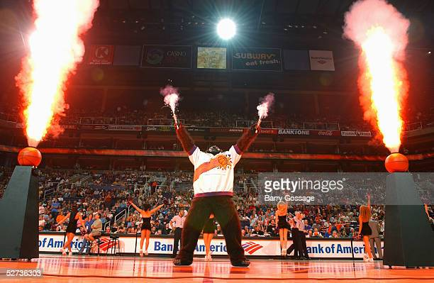 The Phoenix Suns Gorilla performs during the game against the Minnesota Timberwolves on April 1 2005 at America West Arena in Phoenix Arizona The...