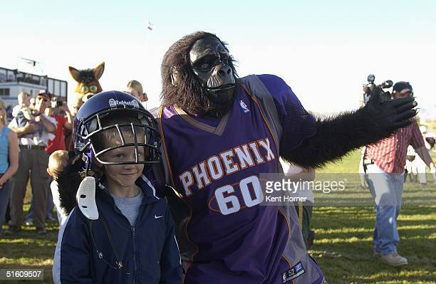 The Phoenix Suns Gorilla poses for a photo when not playing football against the Lehi 6th grade football team on October 14 2004 in Lehi Utah The...