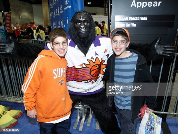 The Phoenix Suns Gorilla poses with fans at the Kia court during Jam Session presented by Adidas during All Star Weekend on February 20, 2011 in Los...