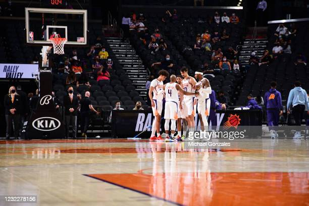 The Phoenix Suns huddle during the game against the Houston Rockets on April 12, 2021 at Phoenix Suns Arena in Phoenix, Arizona. NOTE TO USER: User...